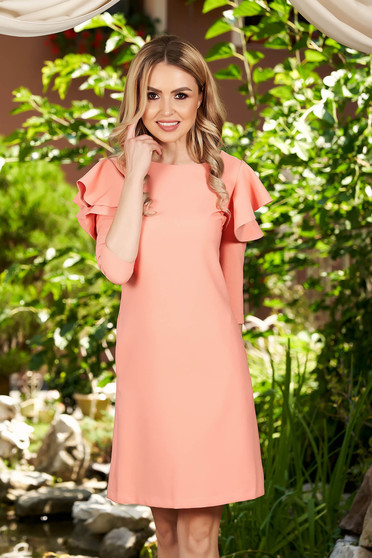 LaDonna peach dress with ruffled sleeves slightly elastic fabric daily a-line