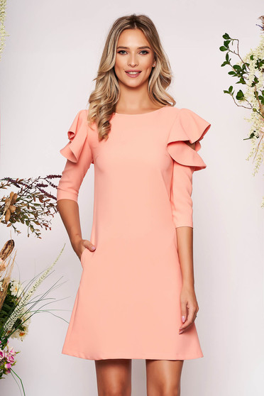 Peach daily elegant a-line dress slightly elastic fabric with ruffled sleeves