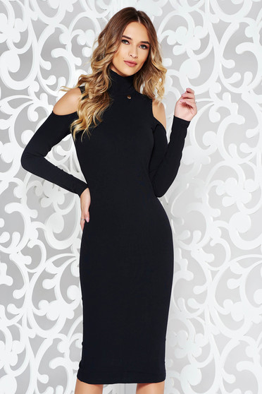 PrettyGirl black dress pencil with turtle neck from elastic fabric both shoulders cut out midi