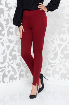 PrettyGirl burgundy trousers with elastic waist conical office high waisted from elastic fabric