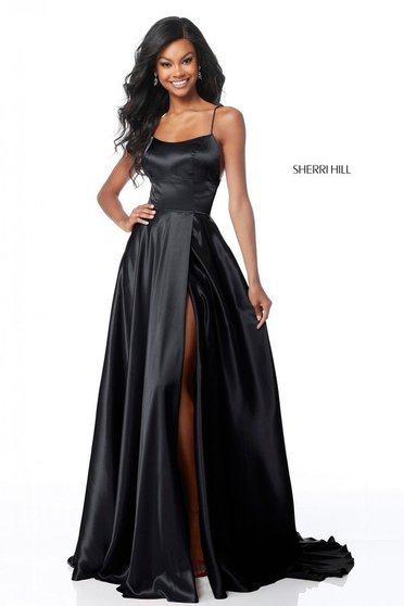 Sherri Hill black dress luxurious flaring cut from satin fabric texture with straps long