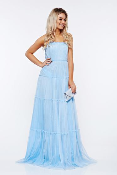 Ana Radu lightblue dress luxurious from tulle off shoulder with inside lining