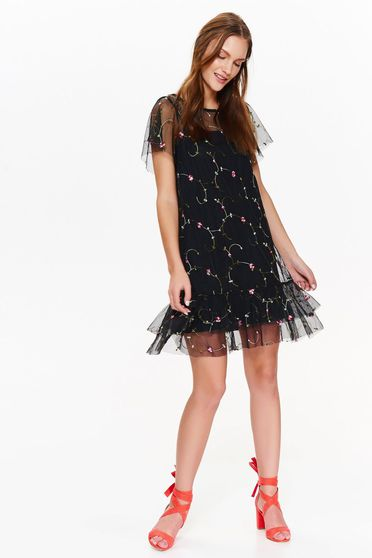 Top Secret black flared dress transparent fabric with embroidery details