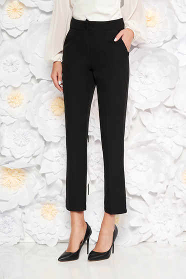 Artista black office trousers with pockets with medium waist slightly elastic fabric with straight cut