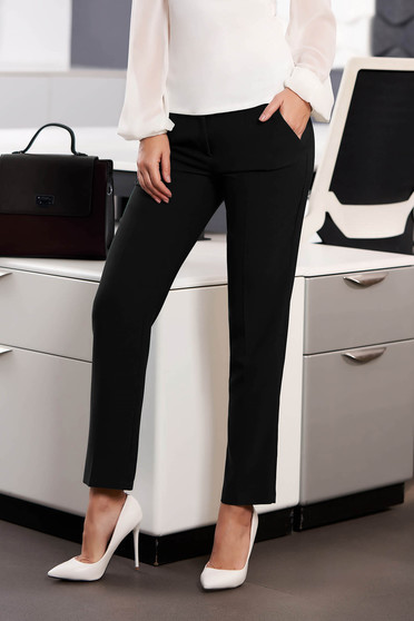 StarShinerS black office trousers with pockets medium waist slightly elastic fabric with straight cut
