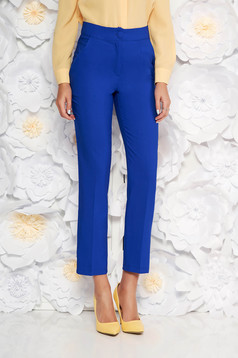 Blue office trousers with pockets medium waist slightly elastic fabric with straight cut