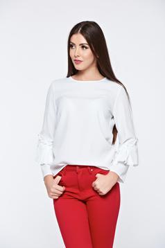 PrettyGirl white women`s blouse elegant airy fabric flared