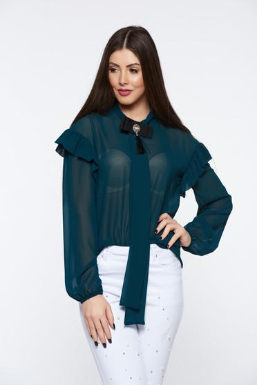 PrettyGirl green women`s shirt elegant transparent chiffon fabric with easy cut