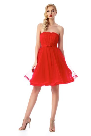 Ana Radu red luxurious corset dress from tulle with inside lining