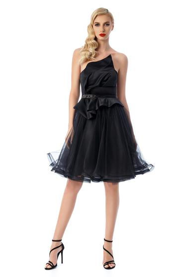 Ana Radu black luxurious dress with push-up cups with inside lining from satin fabric texture net