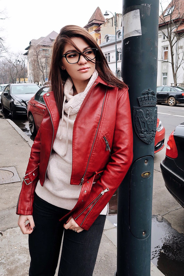 Burgundy jacket casual from ecological leather with inside lining
