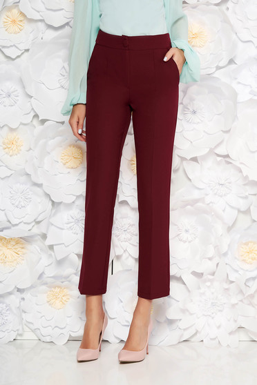 Artista burgundy office trousers with pockets with medium waist slightly elastic fabric with straight cut