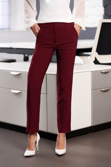 StarShinerS burgundy office trousers with pockets medium waist slightly elastic fabric with straight cut
