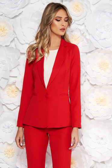 Red jacket with inside lining office from non elastic fabric arched cut
