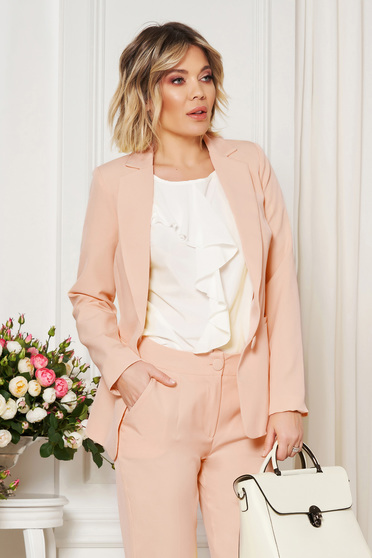 Cream jacket with inside lining office from non elastic fabric arched cut
