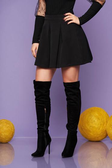 Artista black casual cloche skirt slightly elastic fabric with medium waist