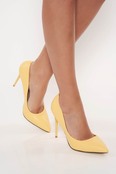 Office with high heels from ecological leather yellow stiletto shoes