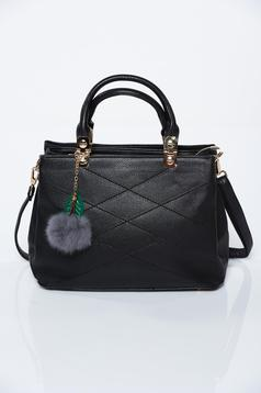 Black office bag from ecological leather