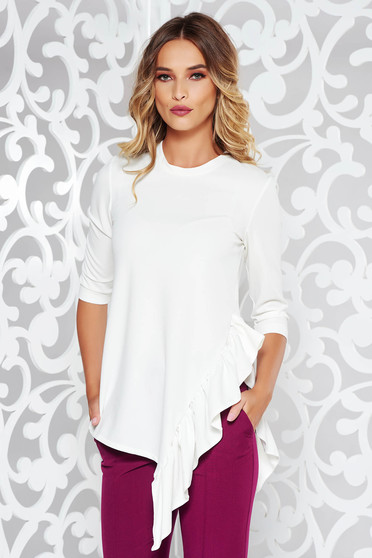 StarShinerS white women`s blouse office asymmetrical from elastic fabric with ruffle details