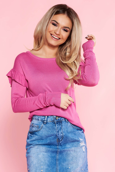 Top Secret pink casual flared sweater knitted fabric with ruffled sleeves