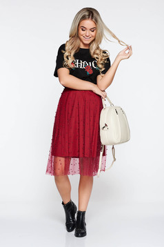 StarShinerS burgundy skirt from tulle with small beads embellished details with inside lining casual