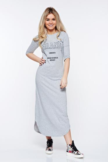 Top Secret grey dress casual cotton with easy cut with print details