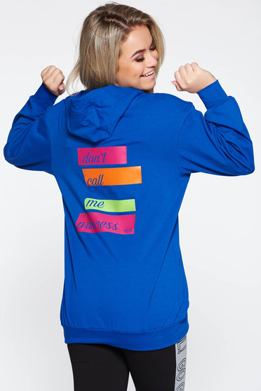 MissQ blue coat casual with print details with undetachable hood