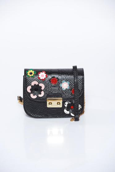 Top Secret black bag casual from ecological leather snake print design with floral details