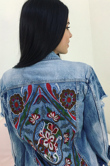 SunShine blue jacket casual embroidered with pockets denim