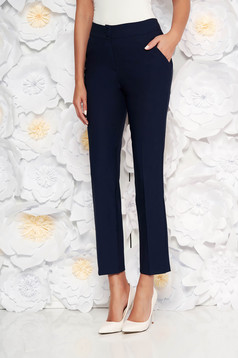 Darkblue office trousers with pockets medium waist slightly elastic fabric with straight cut