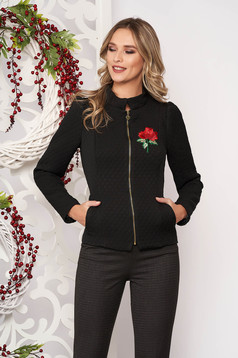 Jacket black casual with inside lining with pockets embroidered