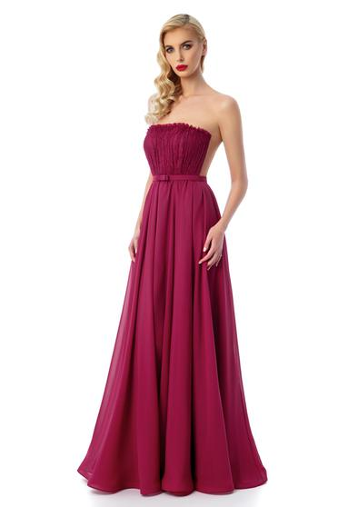 Ana Radu burgundy dress luxurious corset from tulle with inside lining off shoulder