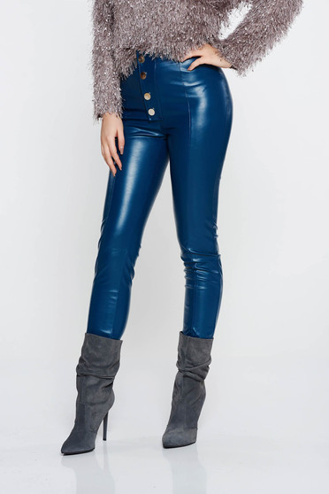 PrettyGirl blue casual conical high waisted trousers from ecological leather