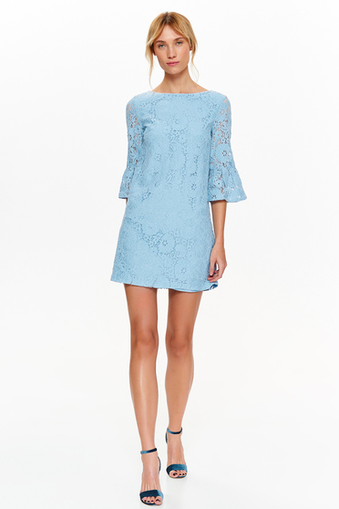 Top Secret lightblue dress elegant laced with inside lining with bell sleeve a-line