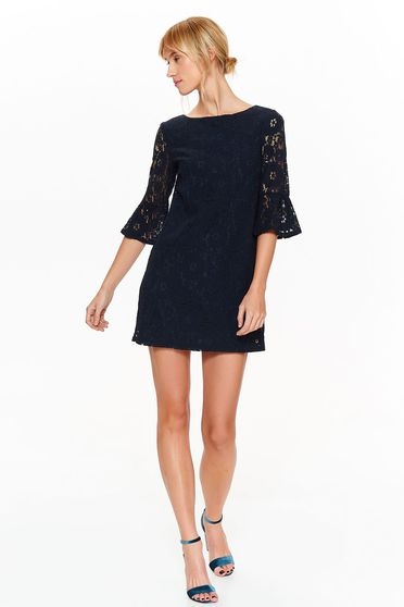 Top Secret darkblue dress elegant flared laced with inside lining bell sleeves