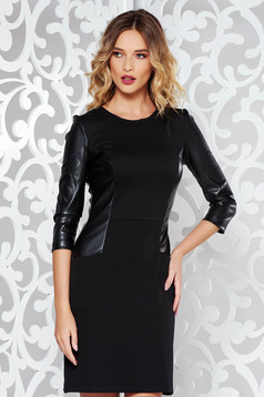 StarShinerS black daily pencil dress from elastic fabric with faux leather details