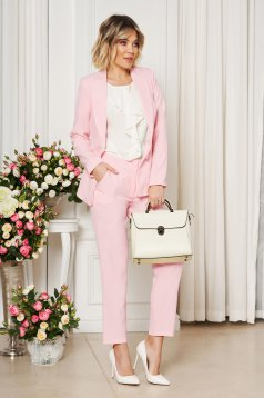 Artista rosa office trousers with pockets with medium waist slightly elastic fabric with straight cut