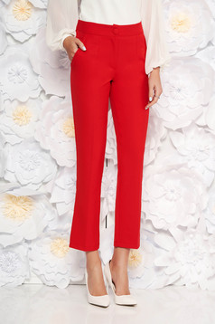 Artista red office trousers with pockets with medium waist slightly elastic fabric with straight cut