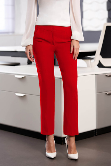 StarShinerS red office trousers with pockets medium waist slightly elastic fabric with straight cut