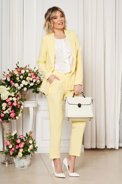 Yellow office trousers with pockets medium waist slightly elastic fabric with straight cut