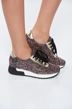 MissQ black casual sneakers light sole natural leather with bright details