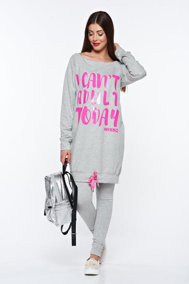 MissQ grey casual cotton set with easy cut with laced details