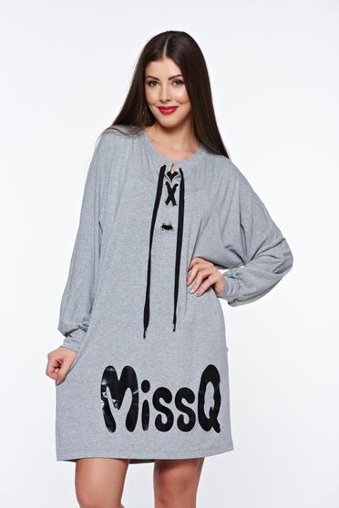 MissQ grey dress casual flared from elastic fabric with laced details
