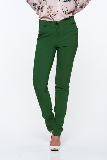 PrettyGirl green elegant conical trousers with medium waist with pockets slightly elastic fabric
