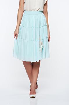 LaDonna lightgreen elegant high waisted cloche skirt with inside lining handmade applications