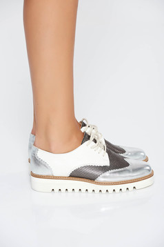 Silver casual shoes natural leather with lace