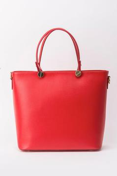 Red office bag natural leather long, adjustable handle
