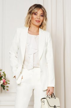 Artista white jacket with inside lining office from non elastic fabric arched cut