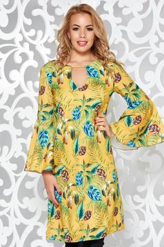 PrettyGirl mustard daily flared dress slightly elastic fabric with bell sleeve