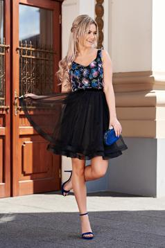 StarShinerS black occasional cloche dress from tulle with inside lining with raised flowers